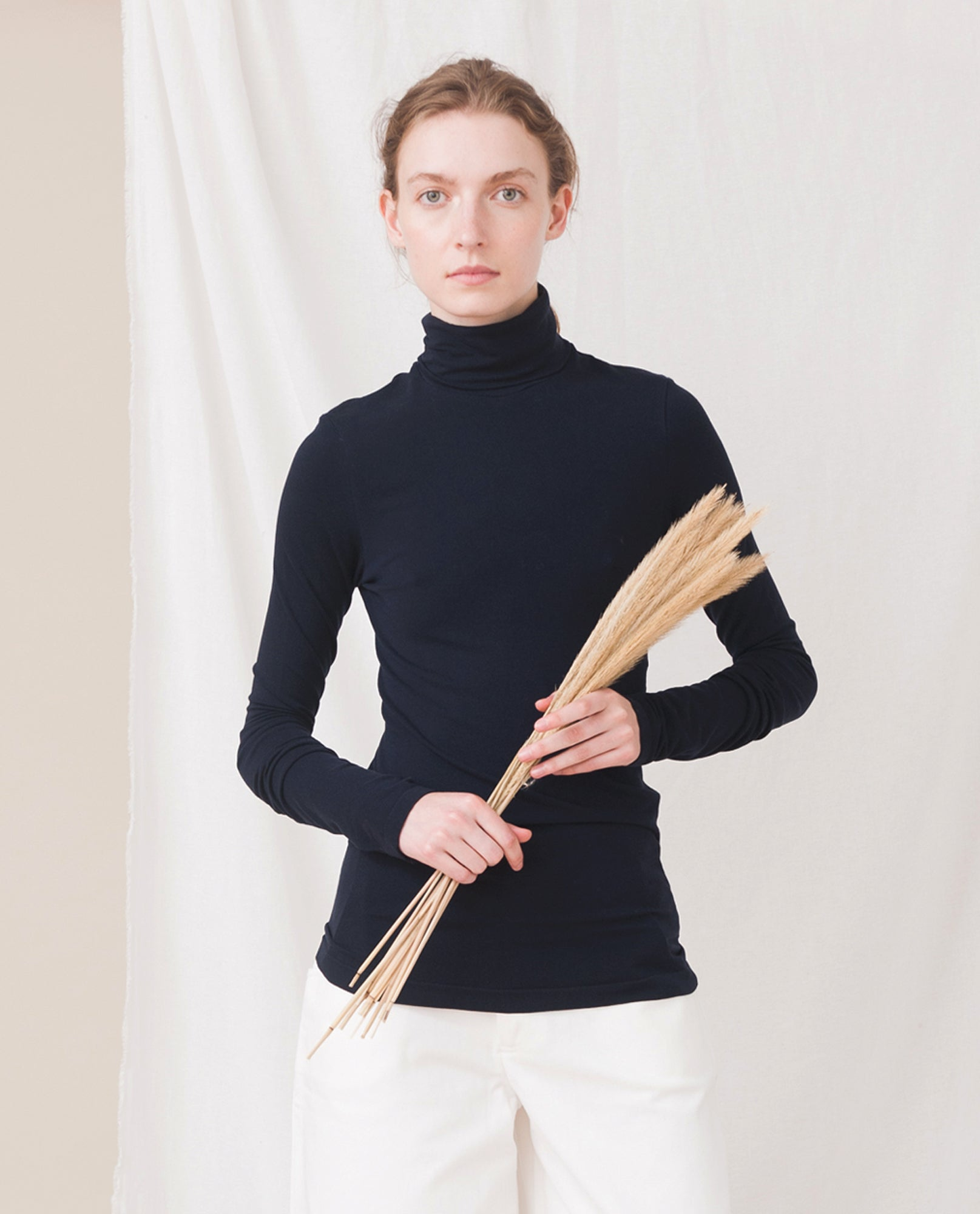TRICIA Organic Cotton And Lyocell Roll Neck Top In Navy