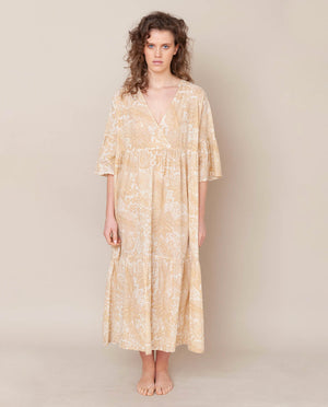 Tulsi Organic Cotton Dress In Cream Print