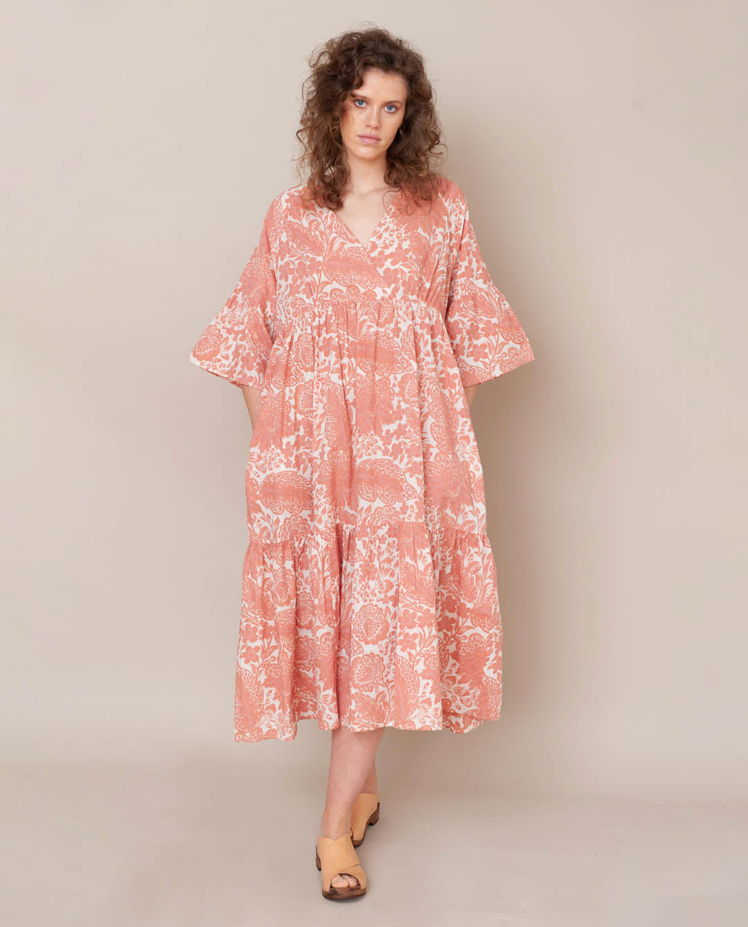 Tulsi Organic Cotton Dress In Pink Print