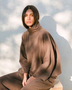 Ula Organic Cotton Top In Brown Marl