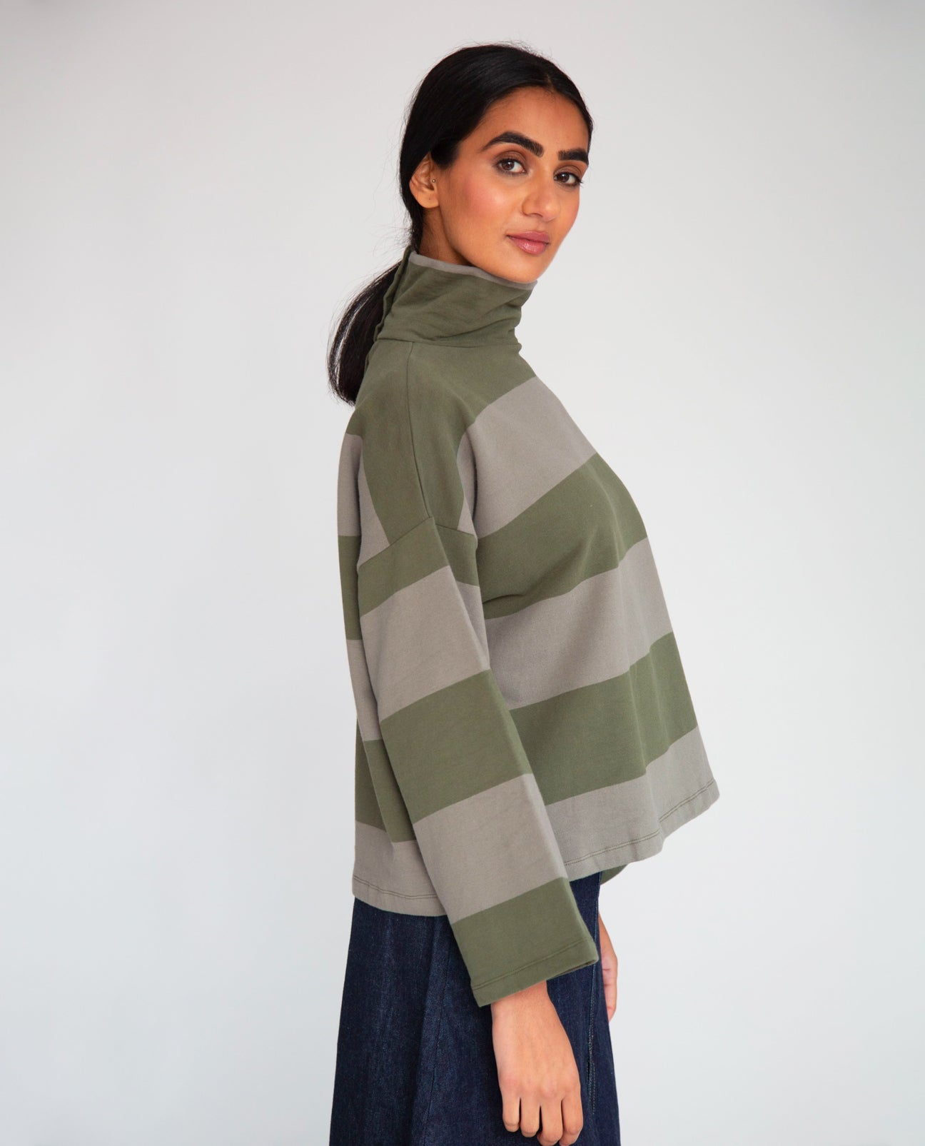 Ula-Sue Organic Cotton Top In Army & Khaki
