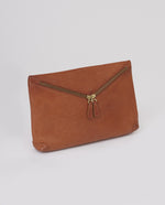 VALENCIA Leather Zip Clutch In Tan
