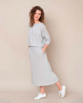 Valentina Organic Cotton Skirt In Light Grey Marl