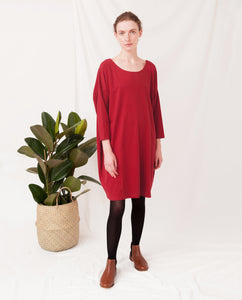 VERA Organic Cotton Dress In Cranberry