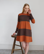 VICKY Organic Cotton Dress In Dark Brown & Cinnamon