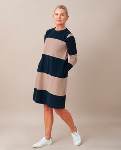 VICKY Organic Cotton Dress In Deep Indigo & Stone Marl