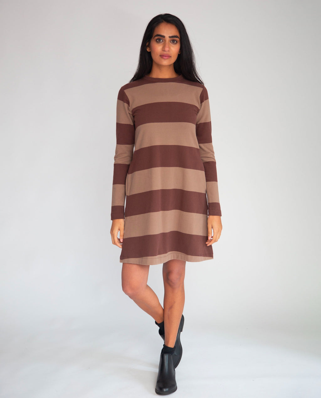 Vicky-Sue Organic Cotton Dress In Chocolate & Mocha