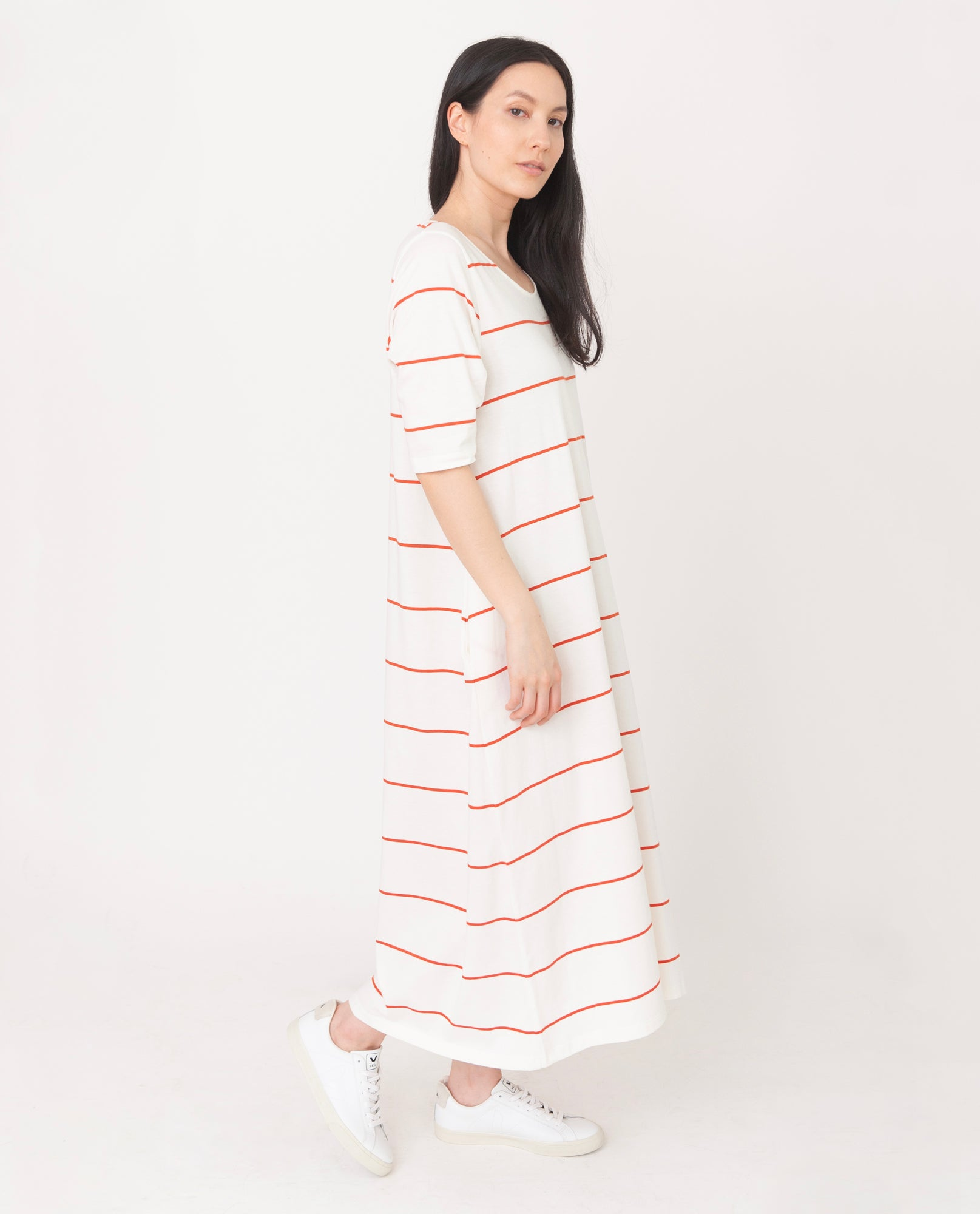 VICTORIA Organic Cotton Dress In Off White And Madder