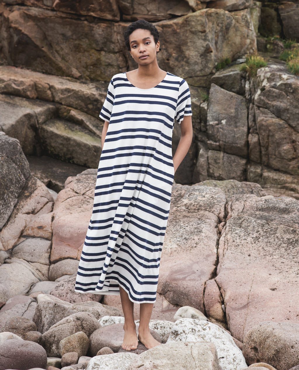Viola-Sue Organic Cotton Dress In Off White & Navy.