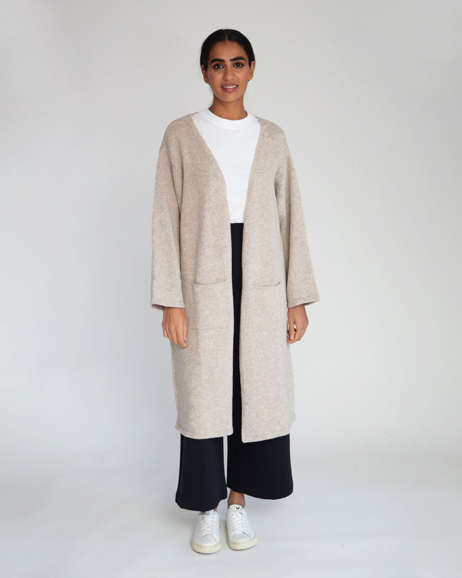 Whitney-Rose Virgin Wool Cardigan In Beige