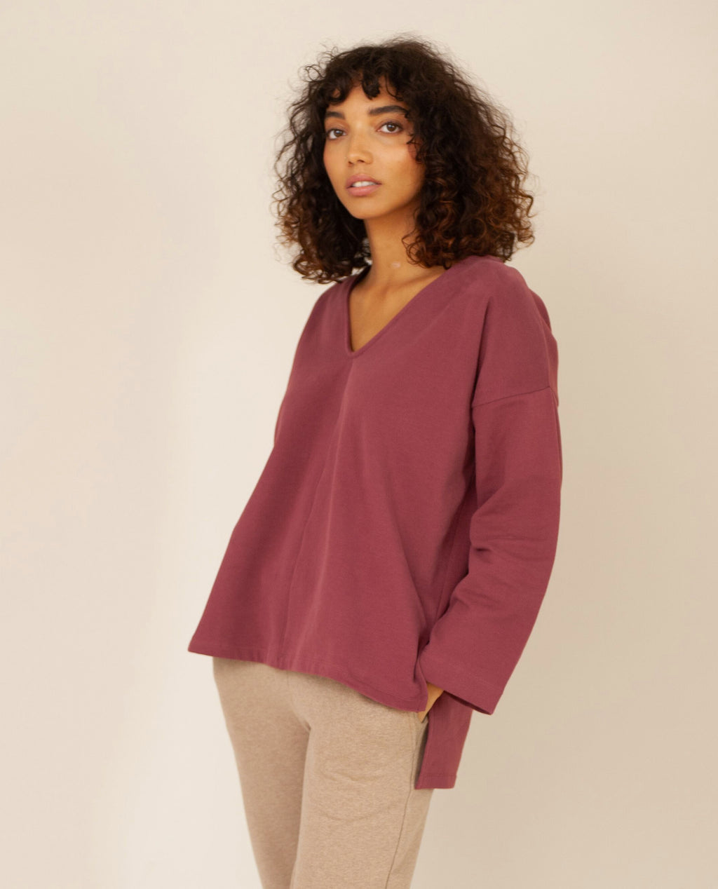 WILLA Organic Cotton Top In Burgundy