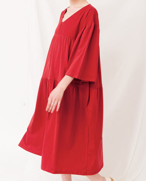 YARA Organic Cotton Dress In Cranberry