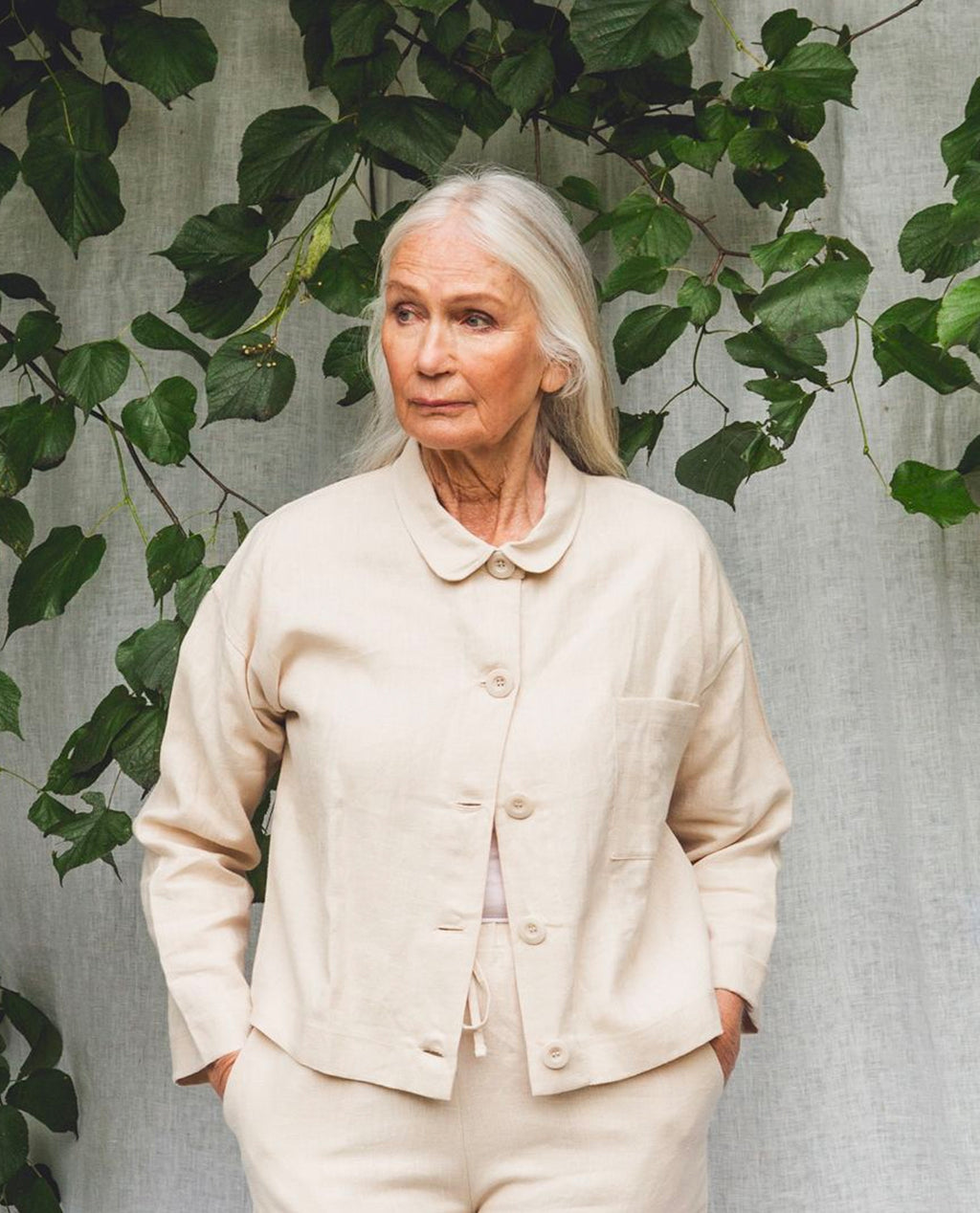 Zanna Linen Jacket In Cream