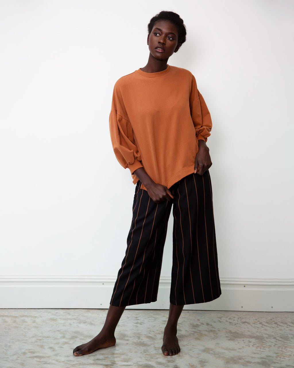 Adrienne-Sue Tencel Trousers In Black & Tan