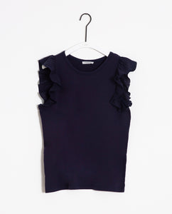 Zooey-May Organic Cotton & Linen Top In Midnight
