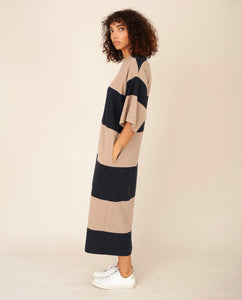 ZORA Organic Cotton Dress In Deep Indigo & Stone Marl