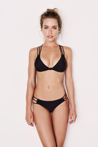 "Strappy Bottoms Black Bikini - The ""Leela"""