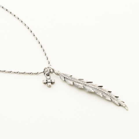 Feather necklace with plus pendant - silver and diamonds