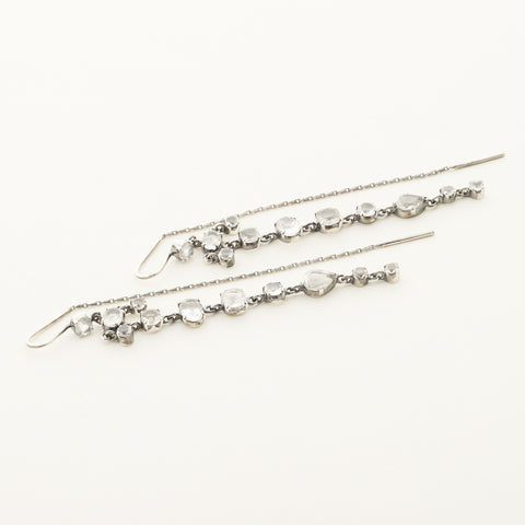 Long smoke quartz earrings - silver