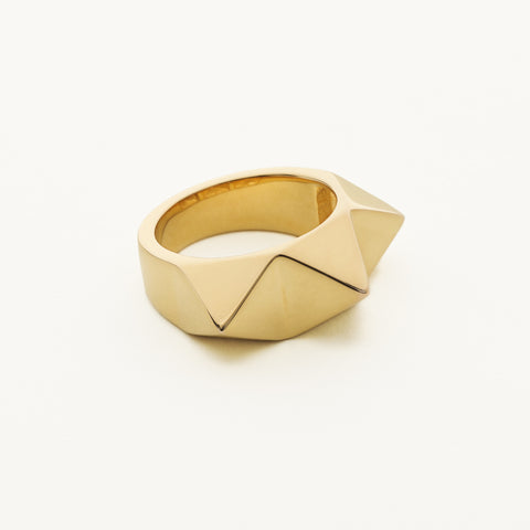 3 stud ring - gold plated