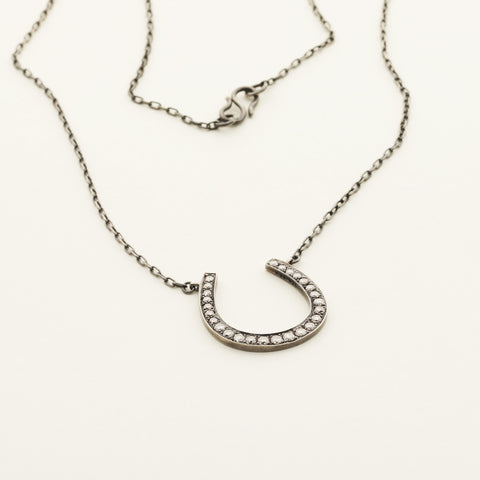 Horse shoe necklace - silver with diamonds