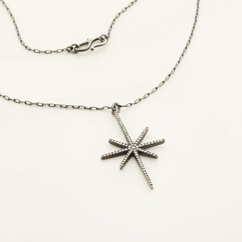 Snowflake necklace - oxidized silver with diamonds