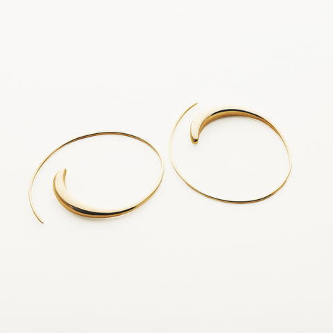 Small asymmetric hoops - gold plated