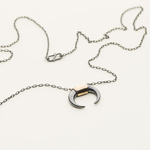 Kenya necklace - oxidized silver with 18k gold