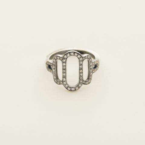 Lingerie ring - silver with diamonds