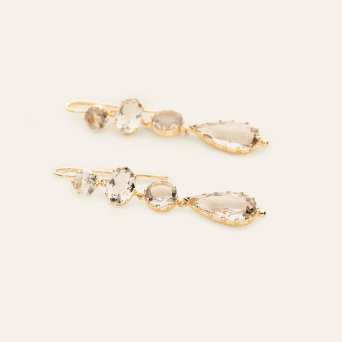 Smoke quartz earrings - gold plated