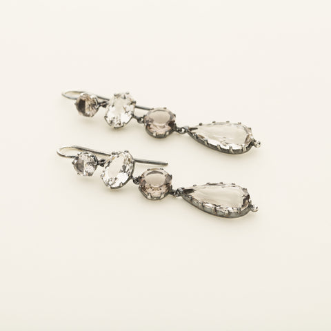 Smoke quartz earrings - silver