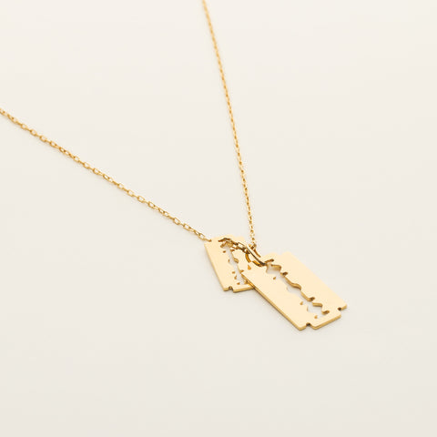 Razor blade necklace - gold plated