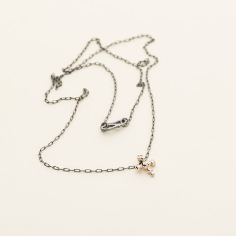 Necklace with asymmetric pendant - silver and 9k pink gold with diamonds