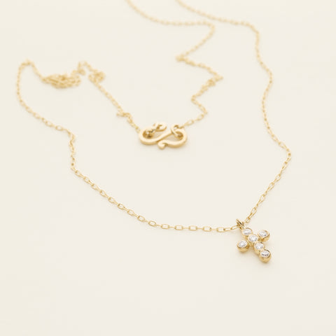 Necklace with cross and diamonds - 18k gold