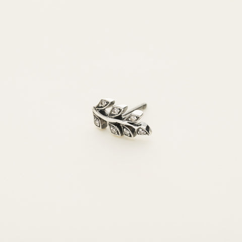 Leaf earring - silver with diamonds