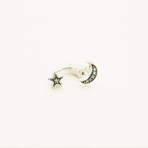 Moon and star ear jacket - silver with diamonds