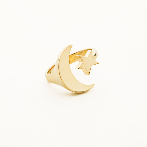 Moon and star ring - gold plated
