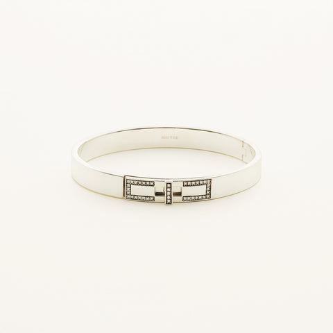 Plain bangle - silver with diamonds