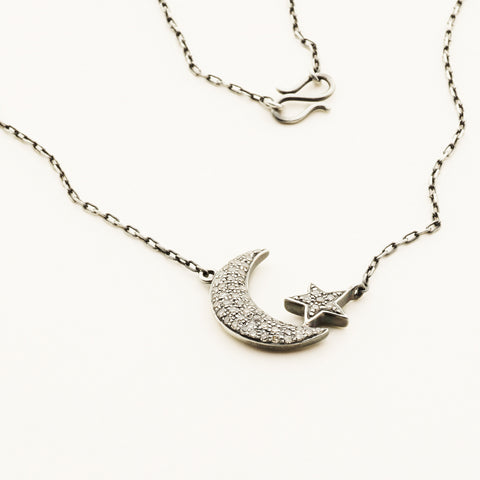 Moon and star necklace - SILVER WITH DIAMONDS