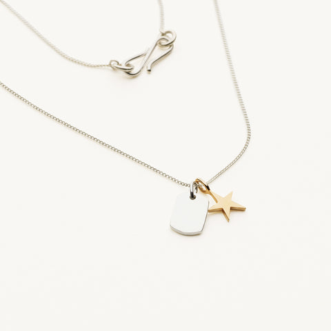 Mini tag and star necklace - silver with 14k star