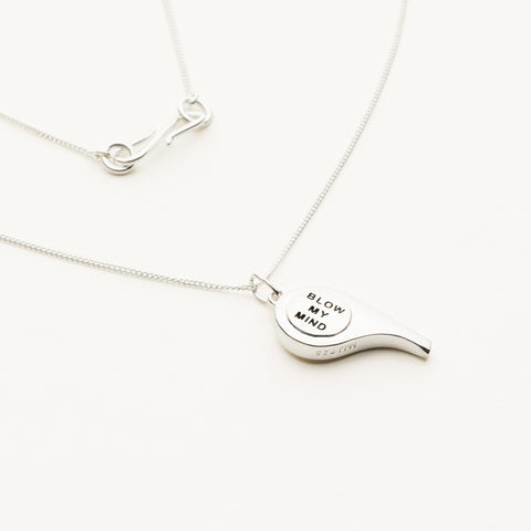 Mini whistle pendant necklace - silver