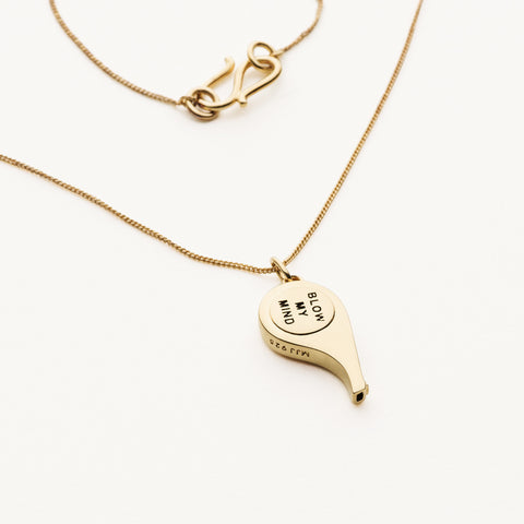 Mini whistle pendant necklace - gold plated