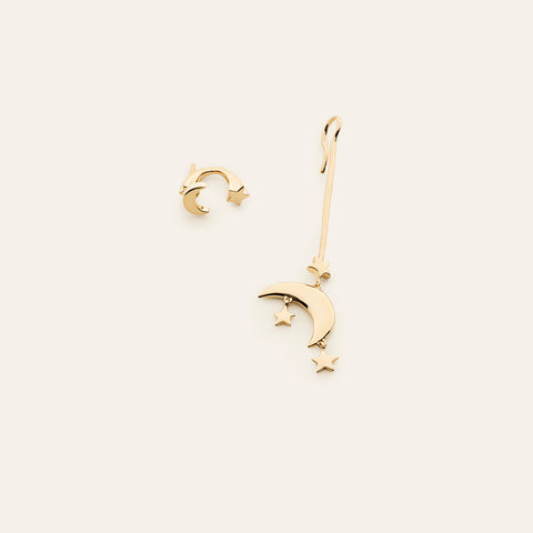 Long moon and star earring - gold plated