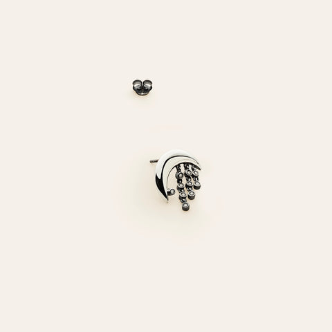 Moon earring - silver with diamonds