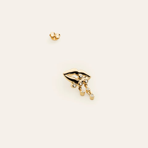 Mouth earring - gold plated with diamonds