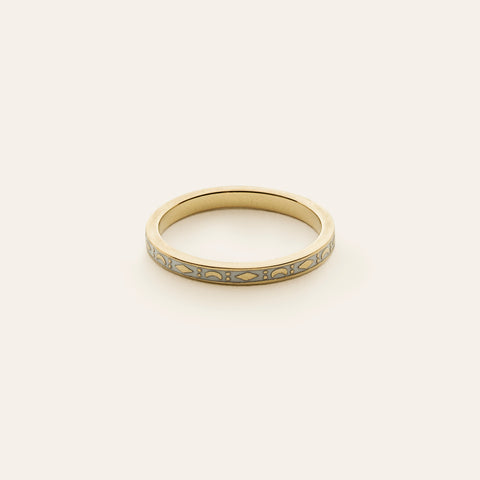 Kite and moon enamel ring - Gold plated