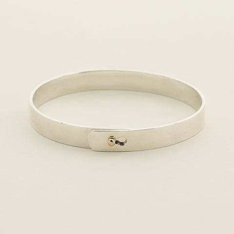 Click bracelet with 18k gold ball lock - silver