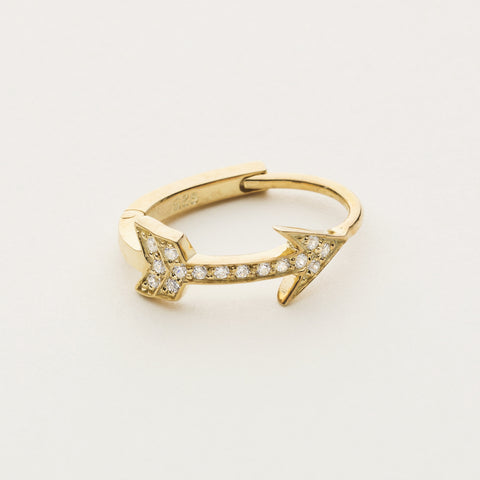 Arrow hoop earring - gold plated with diamonds