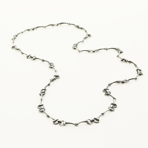 Horse bite necklace - oxidized silver