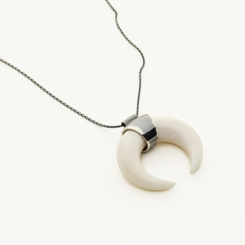 Bone Kenya necklace - silver